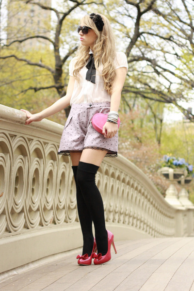 hot pink silvian heach heels - white Forever21 shirt - hot pink H&M bag