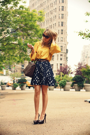 navy vintage skirt - dark brown Trussardi bag - gold silvian heach blouse