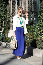 blue romwe skirt - white H&M blazer - aquamarine H&M shirt - nude Remy&Emmy bag