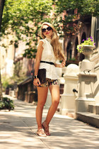navy Sheinside shorts - white silvian heach shirt - crimson Louis Vuitton bag