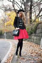 hot pink Lulus skirt - black Siren London jacket - black Zara bag