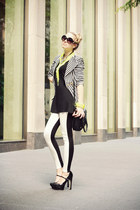 white H&M leggings - black necessary clothing blazer - black BCBG bag