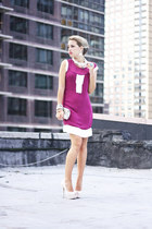 hot pink silvian heach dress - eggshell Accessorize bag