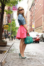 Periwinkle-tezenis-shirt-teal-remi-emmy-bag-teal-bershka-heels