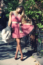 bubble gum H&M dress - beige Zara coat - dark brown Zara heels