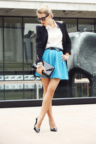 blue Lulus skirt - black H&M bag - black Bufalo heels