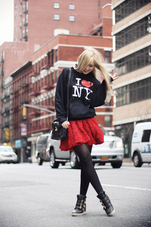 black 31 Phillip Lim bag - red Chicwish skirt - black Steve Madden sneakers