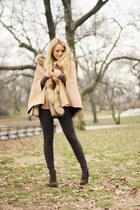 camel Chicwish cape - dark brown Georgia Rose boots - beige YSL bag