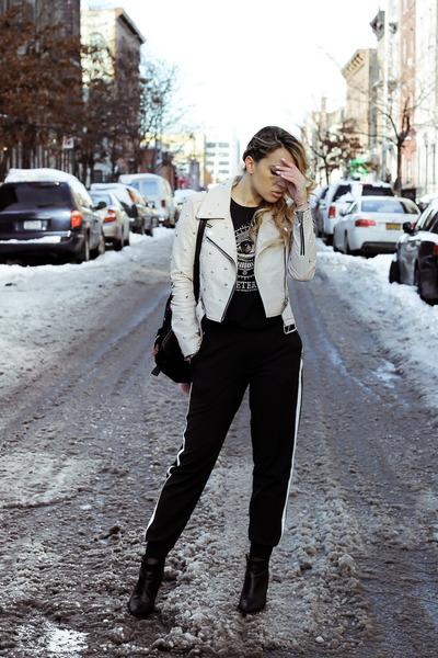 black H&M boots - neutral Bebe jacket - black Stradivarius bag