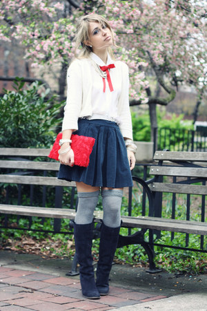 navy Zara skirt - navy Prima Donna boots - red H&M bag - white H&M cardigan