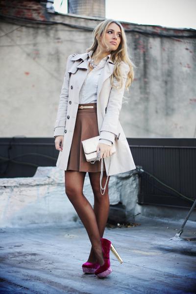 nude Zara coat - gold Steve Madden bag - burnt orange Forever21 skirt