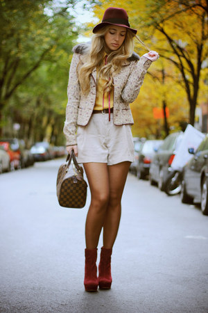 ruby red H&M hat - ruby red Alberta Ferretti jacket - mustard Forever21 shirt