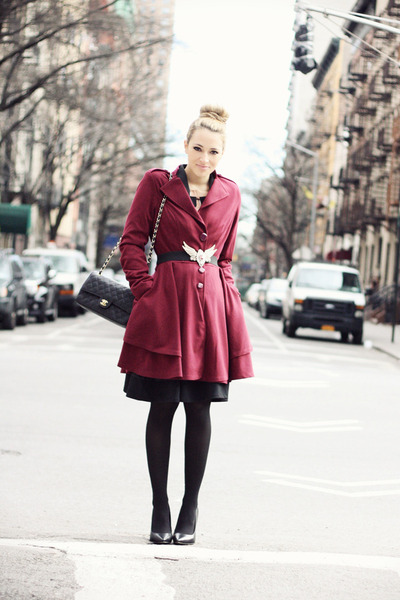 black Chanel bag - ruby red Darling Clothes coat - black Bufalo heels