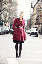 black Chanel bag - ruby red Darling Clothes coat - black Bufalo heels