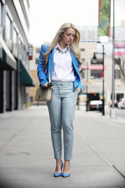 blue romwe blazer - beige YSL bag - blue Guess heels - light blue H&M pants