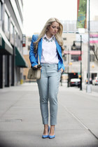 blue romwe blazer - beige YSL bag - blue Guess heels - light blue H&M pants
