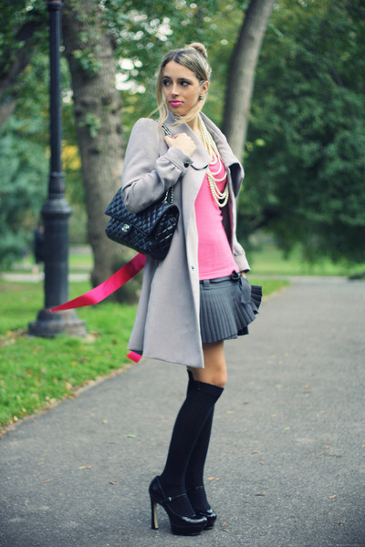 charcoal gray blugirl skirt - heather gray H&M coat - black Chanel bag