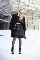 black Zara boots - black Chanel bag - black Darling Clothing skirt