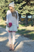 white H&M dress - camel jeffrey cambpell boots - white H&M hat