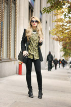 black Luluscom boots - black Zara jacket - olive green Zara Man shirt