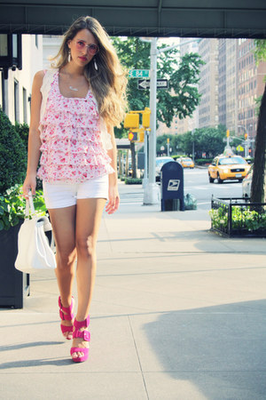 strawberry sandals - Aldo bag - Zara shorts - H&M sunglasses - Macys blouse