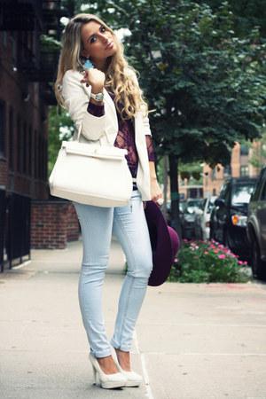 white Aldo bag - sky blue Zara jeans - magenta H&M hat
