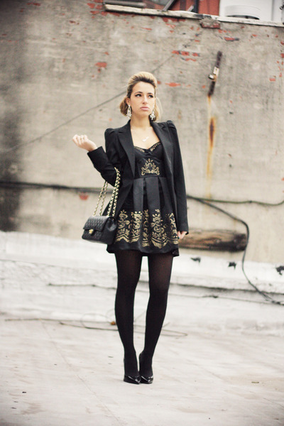 black Lashes of London dress - black Zara blazer - black Chanel bag