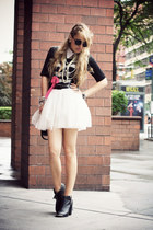 white H&M skirt - black Mtng boots - black Zara shirt