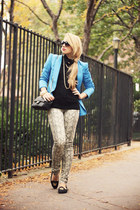 black H&M sweater - light brown Big Star USA jeans - blue romwe blazer