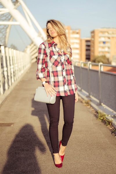 red Stradivarius shirt - periwinkle Michael Kors bag - red Guess heels