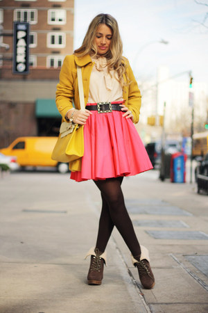 hot pink Luluscom skirt - mustard Luluscom coat - nude Luluscom shirt