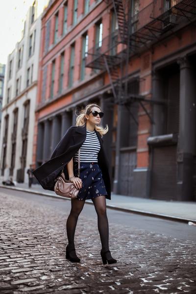 navy Zara coat - navy H&M shirt - pink Miu Miu bag - black sarenza heels