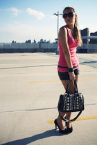 black strawberry bag - black Macys shorts - hot pink Forever21 t-shirt