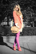bubble gum Forever21 tights - carrot orange Forever21 blazer - bronze H&M bag