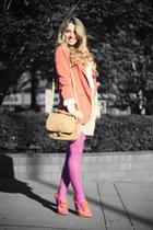 bubble gum Forever21 tights - carrot orange Forever21 blazer - bronze H&M bag