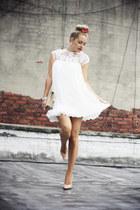 white Siren London dress - neutral vintage bag - nude Bufalo heels