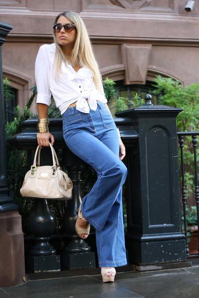 H&M jeans - H&M shirt - rocco barocco bag