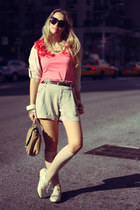 beige Forever21 shoes - bubble gum H&M shirt - bronze H&M bag