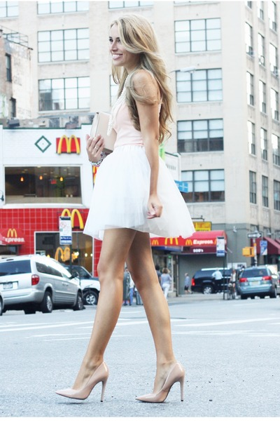 white H&M skirt - nude vintage bag - nude Bufalo heels