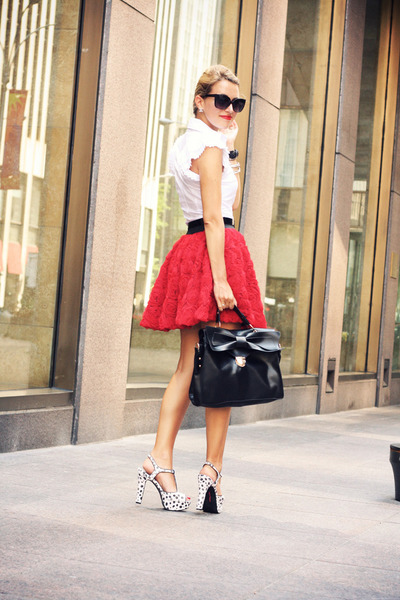red Chicwish skirt - white silvian heach shirt - black OASAP bag