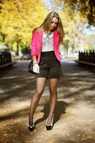 hot pink H&M blazer - ivory Forever21 shirt - black Chanel bag