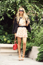 red Moschino bag - neutral Sheinside dress - black H&M blazer
