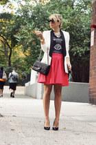 black Big Stare Usa shirt - white SuperTrash blazer - black Chanel bag