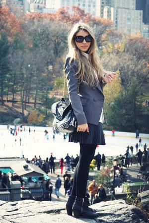 black Topshop boots - heather gray Forever21 blazer