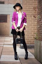 magenta Forever21 blazer - black Dollahouse boots - black H&M hat