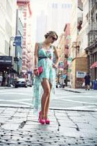 aquamarine Sheinside dress - hot pink H&M bag - hot pink Bershka heels