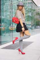 silver Forever21 socks - silver H&M hat - red Moschino bag - black H&M skirt
