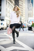 black Pink & Pepper boots - light pink H&M sweater - light pink Miu Miu bag
