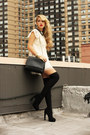 Ivory-romwe-dress-black-zara-bag-black-h-m-socks-black-sarenza-heels