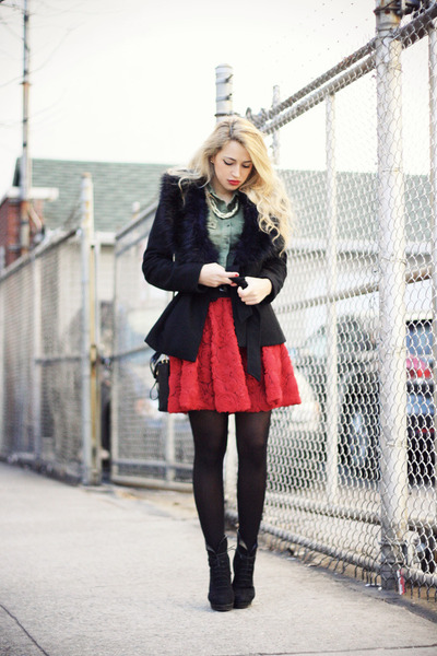 red Chicwish skirt - black Mango boots - black H&M coat